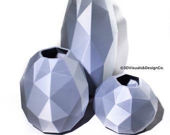 Geometric Vase - 3D Printed Vase - Minimalistic Decor - Pottery Planter - Vase Set of 3 - Housewarming Gift - Planters and Pot - Modern Vase