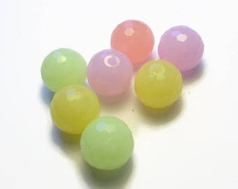 lot 7 acrylic beads 12 mm multicolored faceted
