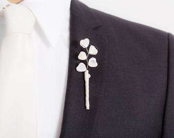 Limited Edition Freshwater Pearl Boutonniere - Heart Pearl - White Boutonniere - Heart Boutonniere