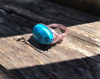 Faux stone wire wrapped ring / 20 gauge pink wire **FREE SHIPPING**