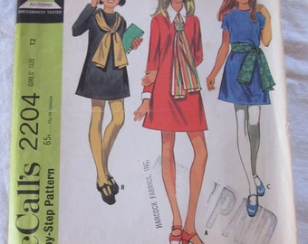 vintage McCALLS 2204 sewing pattern-- Girls Dress in 3 versions and scarf (size 12)--1969