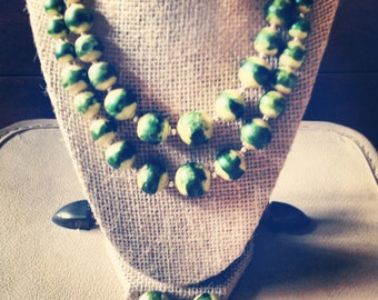 Vintage Wasabi beads and earrings set