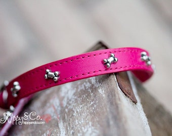 Leather Dog Collar // Dog Collar //  Personalized Dog Collar //  Leather Bone Dog Collar // Small Pet Collar //  Small Leather Collar