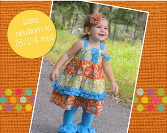 Baby Aubrey's Tiered Ruffled Knot Dress PDF Pattern Size Newborn to 18/24m