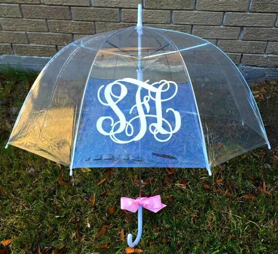 Adult Clear Monogrammed Bubble Umbrella