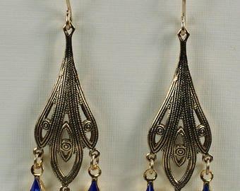 Victorian Downton Abbey Chandelier Earrings, Long Crystal Earrings, Victorian Wedding Bridesmaid Earring, Gold Sapphire Earrings Under 20