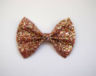 GOLD MULTI Glitter Bow Photo Prop Pictures Headband for Newborn Baby Little Girl Child Adult Spring Summer Pastel Rainbow Easter Clip