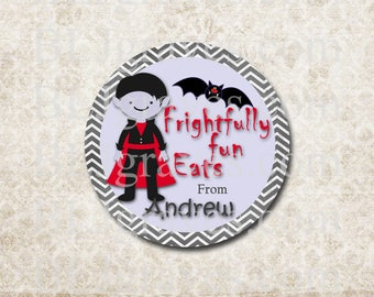 Personalized Halloween Stickers Dracula Stickers Party Favor Treat Bag Stickers SH027