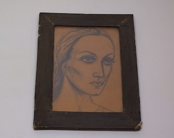 antique original drawing, female portrait