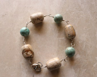 Turquoise Color Magnesite - White Howlite - Sterling Silver - Wire Wrapped - Link - Bracelet - Lobster Clasp