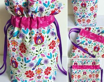 Small Knitting Project Bag, Crochet Bag, Drawstring Bag, Gift Bag, Fabric Bag, Storage Bag, Cosmetic Bag, Flowers, Birds