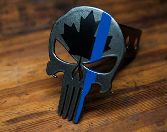 Punisher Trailer Hitch Cover- Canadian with Thin Blue Line