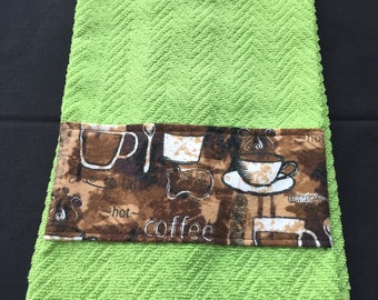 Green Kitchen Towel with a Coffee Themed Band