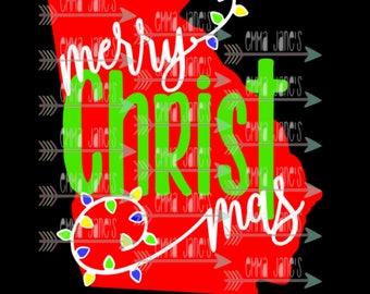 Georgia Merry Christmas - Merry Christ Mas Cut File, SVG
