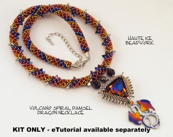 KIT ONLY - Spiral Damsel Dragon Beadwoven Necklace - Intermediate/Advanced Level