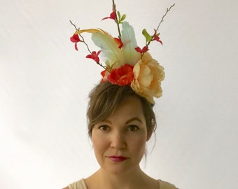 Peach, hot pink and mint fascinator