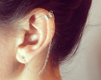 Sterling Silver Ear cuff with Chain & Stud for helix