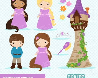 PRINCESS TOWER - Digital Clipart Set,  Princess Clipart, Fairytale Clipart .