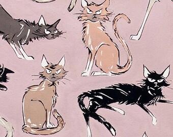 9 Ghastlie Lives Sebastian the Grumpy Cat Alexander Henry Fabric Mauve Dusty Pink Colorway  1 Yard