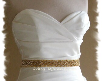 Gold Wedding Sash, 18 inch Crystal Gold Belt, Gold Jeweled Bridal Sash, Gold Wedding Dress Belt, Gold Braided Rhinestone Belt, No. 3010GS-18