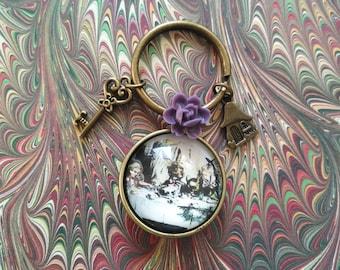 Bronze Alice in Wonderland keychain
