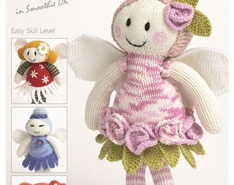 Patons Smoothie DK Flower Fairy Dolls, 3806, Tulip, Forget- me Nots, Daisy and Rose Dolls , rag dolls pattern, knitted dolls