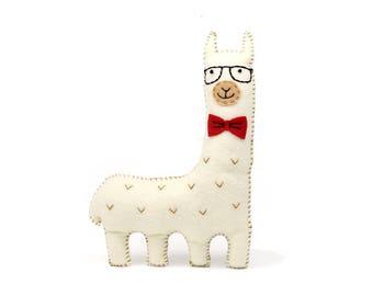 Llama Sewing Pattern, Hipster Llama or Alpaca, Sew Your Own Felt Llama Plushie, Llama Softie, Llama Stuffed Animal, Gift for Llama Lovers