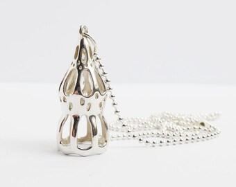 SALE- 25% OFF - Dictyocysta pendant -Foraminiferan - Plankton - Marine Biology - Tintinnid - Science Jewelry - Ernst Haeckel Art