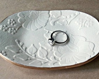 Ceramic Trinket Dish OFF WHITE edged in gold