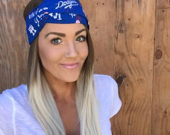 Los Angeles Dodgers Vintage Pinup Turban Headband || Hair Band Baseball California LA Girl Cotton Workout Yoga Fashion Red White Blue Scarf