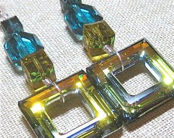 Squarely Swarovski in Lime & Aqua - E716