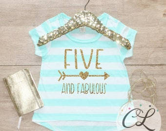 Birthday Girl Shirt / Kids Clothes Five Fabulous 5 Year Old Outfit Fifth Birthday Shirt 5th Birthday Girl Outfit Five Trendy Top 221