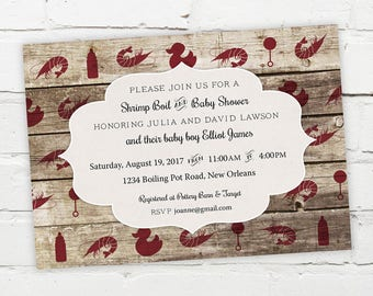 Printable Digital File - Shrimp Boil Baby Shower Invitation - Customizable - Wood, Rustic, Low Country, Seafood, Cajun, Southern
