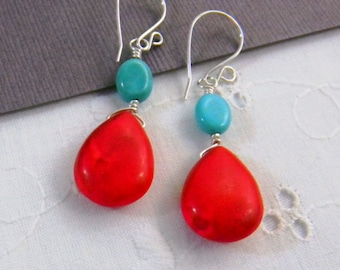 Turquoise blue and coral red earrings, summer earrings, beachy earrings, Bright earrings, Handmade Dangle earrings