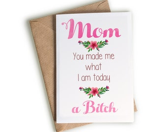 Funny For Mom Blank Greeting Card / INSTANT DOWNLOAD / Printable / DIY / Watercolor / Birthday / Thank You / Holiday / Notecard/ Stationery