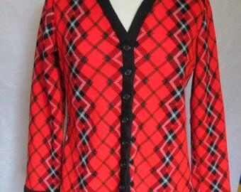 Vicky Vaughn Red and Black Argyle Sweater Cardigan 1971 Small Medium