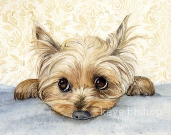 Yorkie Watercolor Painting, Animal Art, Yorkie Painting, Yorkie Watercolor, Yorkie Art, Dog Art, Yorkie, Yorkie Decor, Yorkie Print, Art