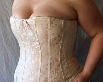 Victorian Bridal Boudoir Corset Plus Size Pastel Brocade,Custom Size,Curvy Hourglass,Full figured Wedding Night,Underwear Shaping, fitting