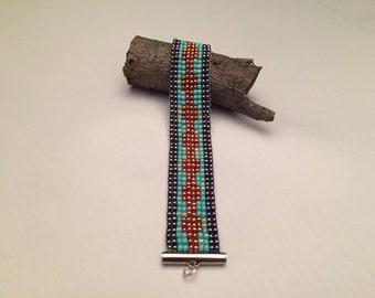 Santa Fe Serene Loom Beaded Bracelet - Navy, Turquoise, Rust