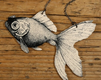 Goldfish Necklace Goldfish Jewelry Goldfish Fish Necklace  Black and White Necklace Shrink Plastic Shrink Plastic Jewelry