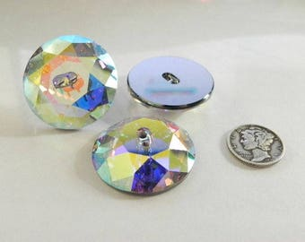 Swarovski 3014 Crystal AB M-Foil 30mm Crystal Button - (1 piece)