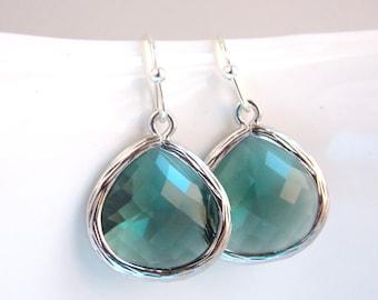 Teal Earrings, Silver Teal Earrings, Teal Jewelry, Teal Wedding, Drop, Dangle, Bridesmaid Earrings, Bridesmaid Jewelry, Bridesmaid Gift