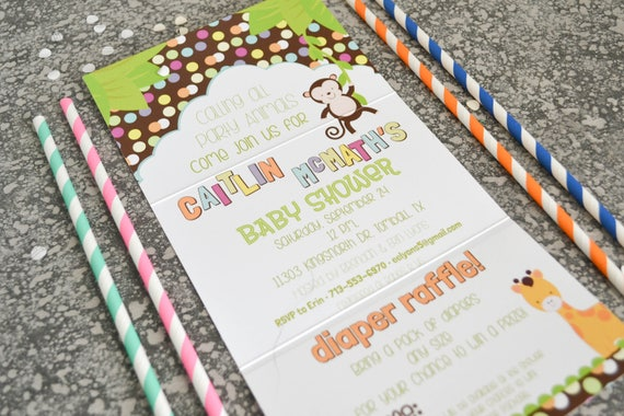 Calling All Party Animals Baby Shower Invitation, Jungle Themed Shower, Seal and Send Invite - Pack of 10