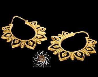 Brass Earrings - Brass Hoops - Gypsy Earrings - Tribal Earrings - Ethnic Earrings - Indian Earrings - Tribal Hoops - Indian Hoops (EB100)