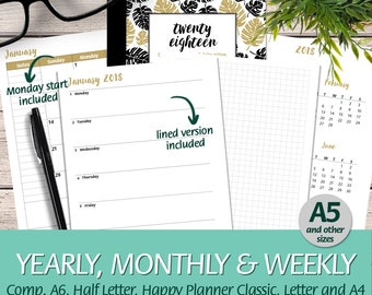2018 Week on 1 Page + Grid Page A5 size compatible w/ A6, Happy Planner Classic, Half Letter, Letter, A4 - Printable Planner Insert Booklet