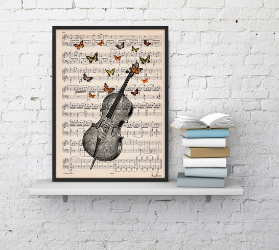 Cello with butterflies Art print on Music sheet, Cello with butterflies, Wall decor art prints, Music art Home BFL083MSL