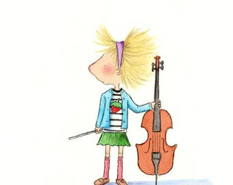 The Cellist  - Girl With Cello and Bluebird- Blonde or Brown Hair - Art Print