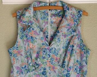 Vintage 1970's Maxi Dress, Floral, Sleeveless, Size Large