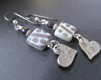 Hearts, Love, Gray and Purple Geometrical Czech Glass Niobium Earrings