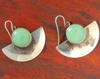 Navajo Sterling Silver and Aventurine Earrings